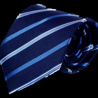 Blå slips med ljusblå och vita ränder 8cm