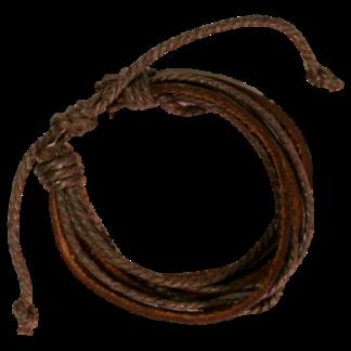 Armband Brunt Läder Snören