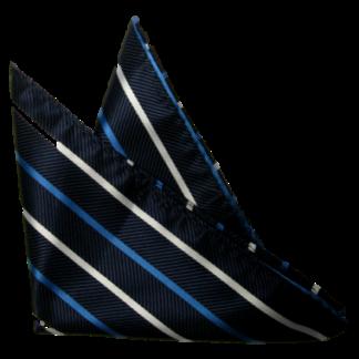 Bröstnäsduk Mörkblå med ljusbla och vit rand