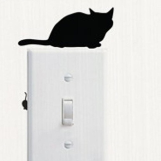 Vinyl dekal med katt och mus