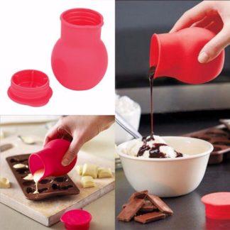 Silikon kanna med lock för att smälta choklad och hälla
