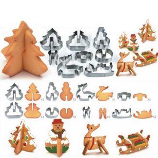 Julbaksformar - Släde, ren, julgran och snögubbe