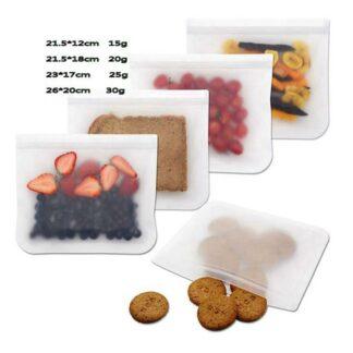 Återanvändbar förvaringspåse i silikon – 4-pack